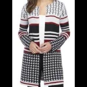 New Directions Long Sleeve Jacquard Print Cardigan